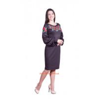 Женское черное платье с вышивкой