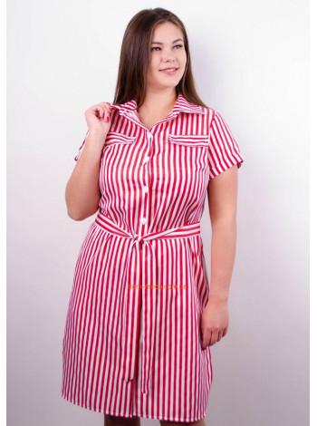 Коротке стильне плаття в полоску для повних дівчат