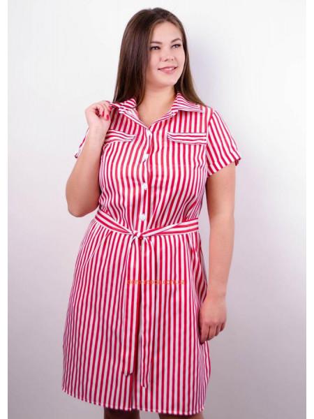 Короткое стильное платье в полоску для полных девушек
