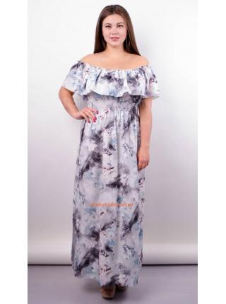 Модное макси платье с открытыми плечами для полных