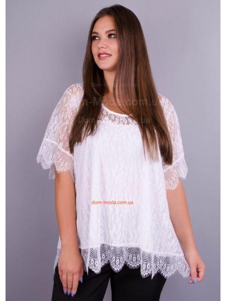 Нарядна гіпюрова блузка великого розміру