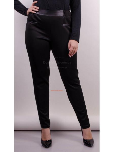 Модні завужені брюки із шкіряними вставками для повних