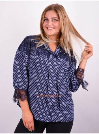Женская нарядная блузка с кружевом большого размера