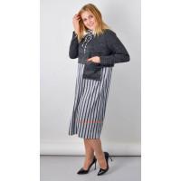 Стильное трикотажное платье в полоску для полных женщин