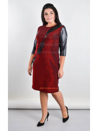 Женское вечернее платье со вставками кожи большого размера