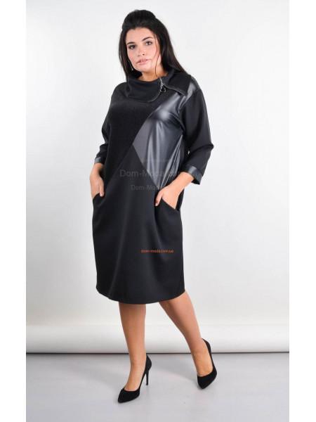 Стильное черное платье со вставками кожи большого размера