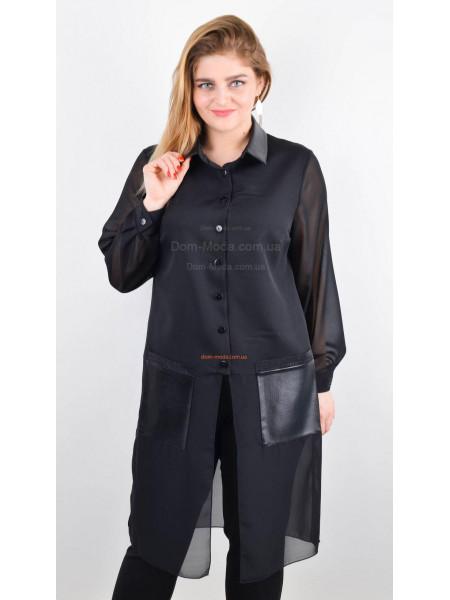 Стильная удлиненная рубашка со вставками кожи для полных