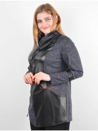 Женская стильная кофта со вставкам кожи для полных