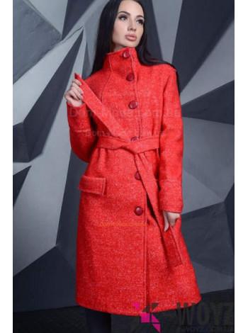 """Женское модное пальто прямого кроя с высоким горлышком """"Сейра"""""""