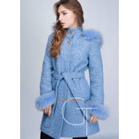 Зимнее теплое женское пальто с мехом на капюшоне и рукавах