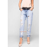 Модные женские джинсы бойфренды с дырками