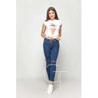 Модні жіночі джинси скинні із дірками на колінах