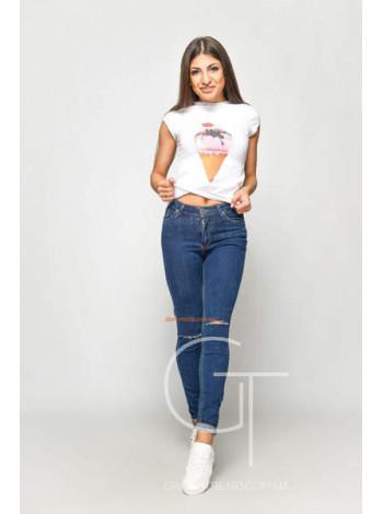 Модные женские джинсы скинни с дырками на коленях