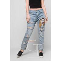 Модні джинси бойфренди жіночі із завищеною посадкою