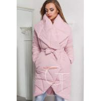 Стильное зимнее пальто на запах с поясом