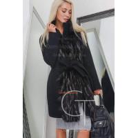 Зимнее теплое пальто женское с мехом