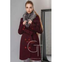Стильное пальто зимнее с мехом