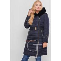 Зимнее женское однотонное пальто с мехом и поясом