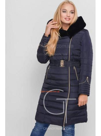 Зимове жіноче однотонне пальто з хутром і поясом
