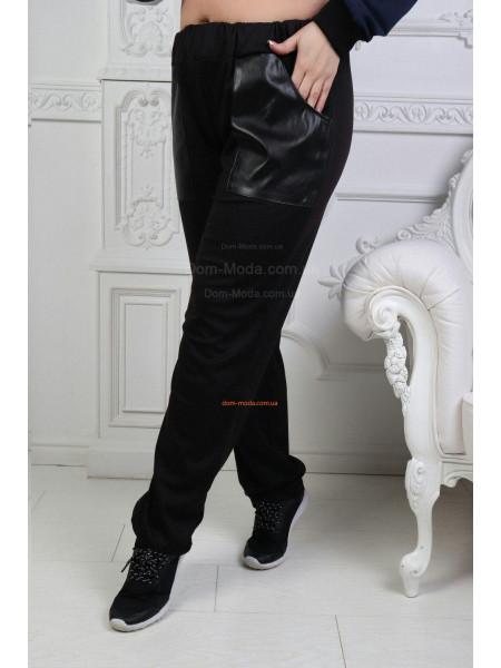Спортивные штаны с кожаными карманами