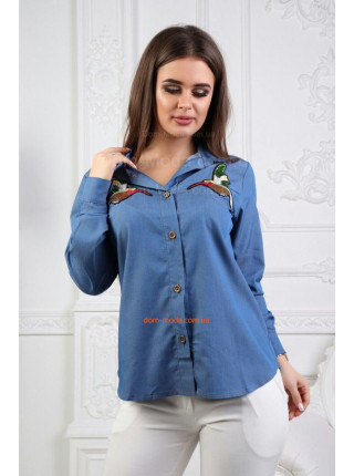 Джинсова рубашка з принтом
