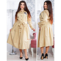 Женское модное платье рубашка с длинным рукавом и поясом