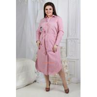 Стильное женское платье халат в полоску с поясом