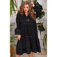 Стильное черное платье большого размера