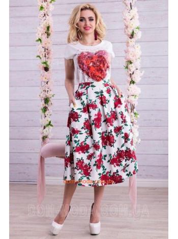 """Модная женская юбка с завышенной талией """"Розочки"""""""