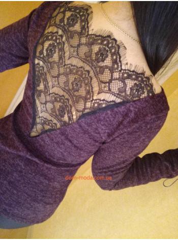 Модная кофта из ангоры с кружевной спиной