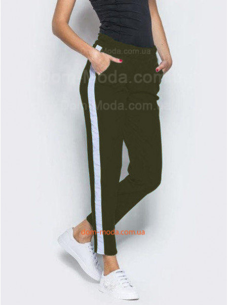 Стильні брюки із білими лампасами