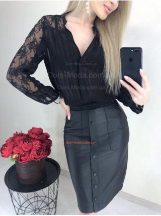Кожаная юбка миди с карманами