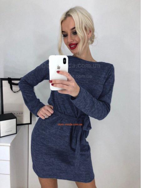 Короткое теплое платье с поясом