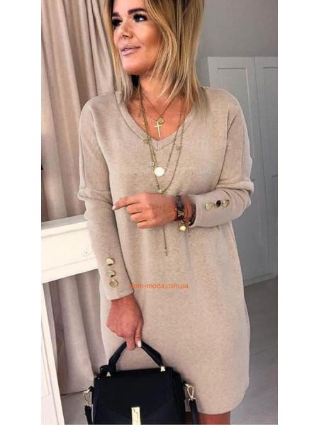 Стильне жіноче плаття із довгим рукавом для повних