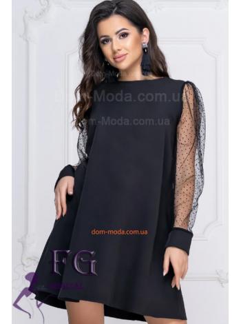 Короткое вечернее платье с длинным рукавом