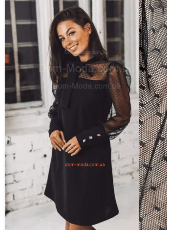 Вечернее женское платье с рукавом в горошек
