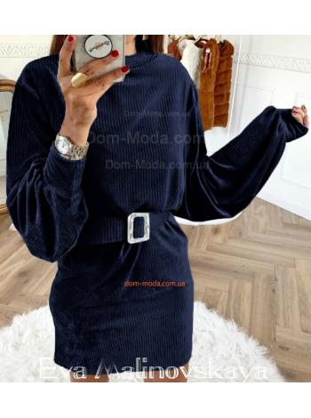 Модное вельветовое платье с поясом