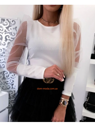 Жіноча модна блузка із прозорими рукавами