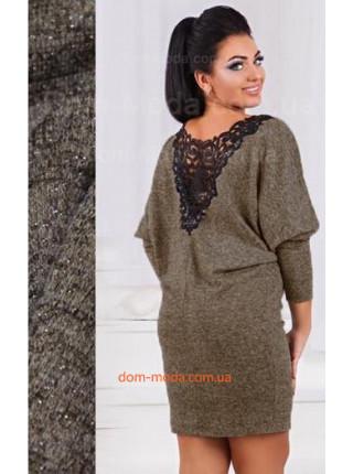 Нарядное женское платье с кружевной спиной