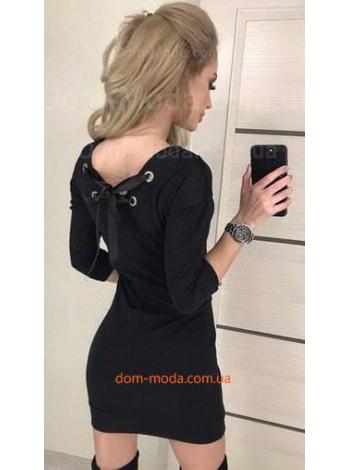 Женское мини платье со шнуровкой на спине