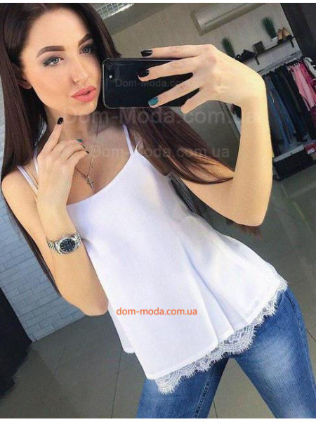 Шовкова майка блуза із кружевом