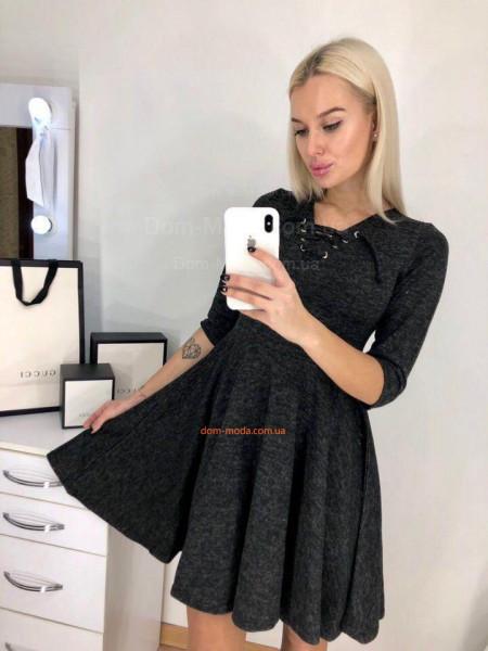 Женское модное платье со шнуровкой из ангоры