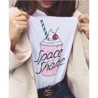 Летняя белая футболка с принтом
