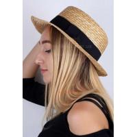 Женская летняя соломенная шляпа канотье
