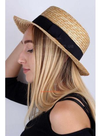 Жіночий літній солом'яний капелюх канотье