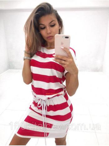 Женское платье летнее с карманами в полоску