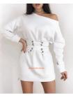 Теплое короткое платье с корсетом