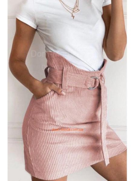 Модная вельветовая юбка с высокой талией