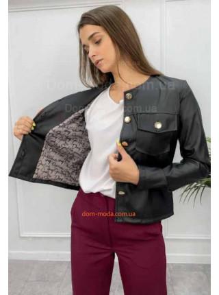 Женский кожаный кардиган пиджак