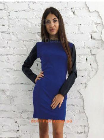 """Модное женское платье с длинным кожаным рукавом """"Milana"""""""